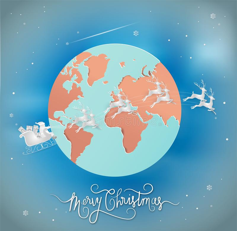 Paper art style of Merry christmas and New Year. Santa claus is. Coming to the earth. with city winter landscape with snowflakes, light, stars. greeting card vector illustration