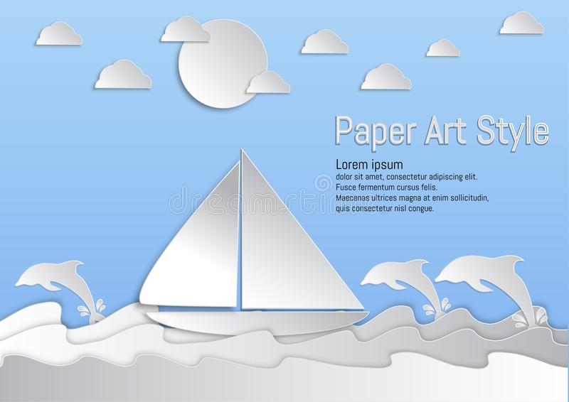 Paper Art Style. Sea and waves with sailboat and Dolphin. vector illustration royalty free illustration