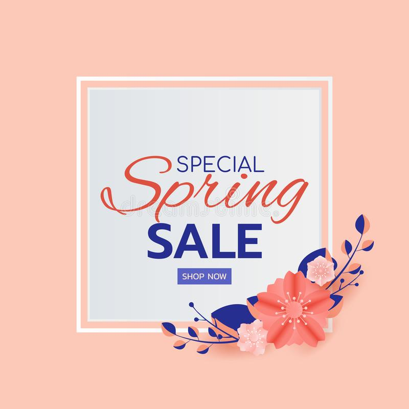 Paper art style. Spring sale banner design leaves and flower. Promotion offer template, banners, brochure, voucher discount royalty free illustration