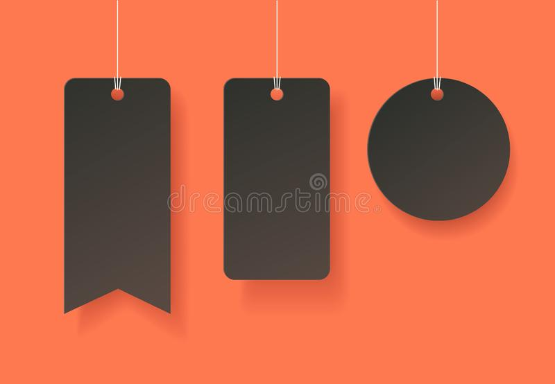 Paper art style tags in Halloween theme. stock photography