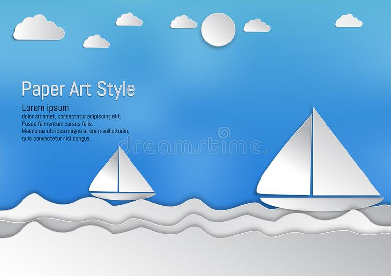 Paper art style, waves with sailboat and clouds, vector illustration.