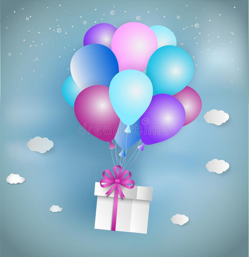 Paper art style of white gift box with pink ribbon and colorful. Balloon floating on the sky. Merry Christmas and Happy New Year royalty free illustration