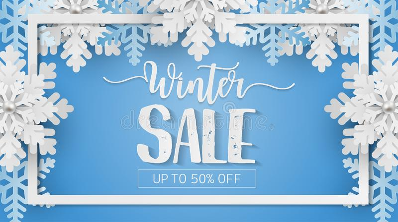 Winter sale banner with white snowflakes on blue background. Paper art style with winter sale banner with white snowflakes on blue background stock illustration