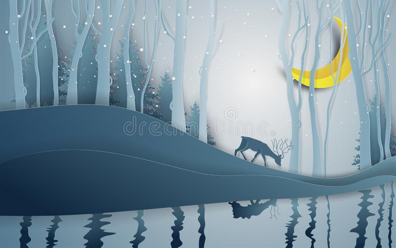 Paper art style of winter season and Christmas day deer under th. E view pine forest landscape with snow background. Vector illustration royalty free illustration