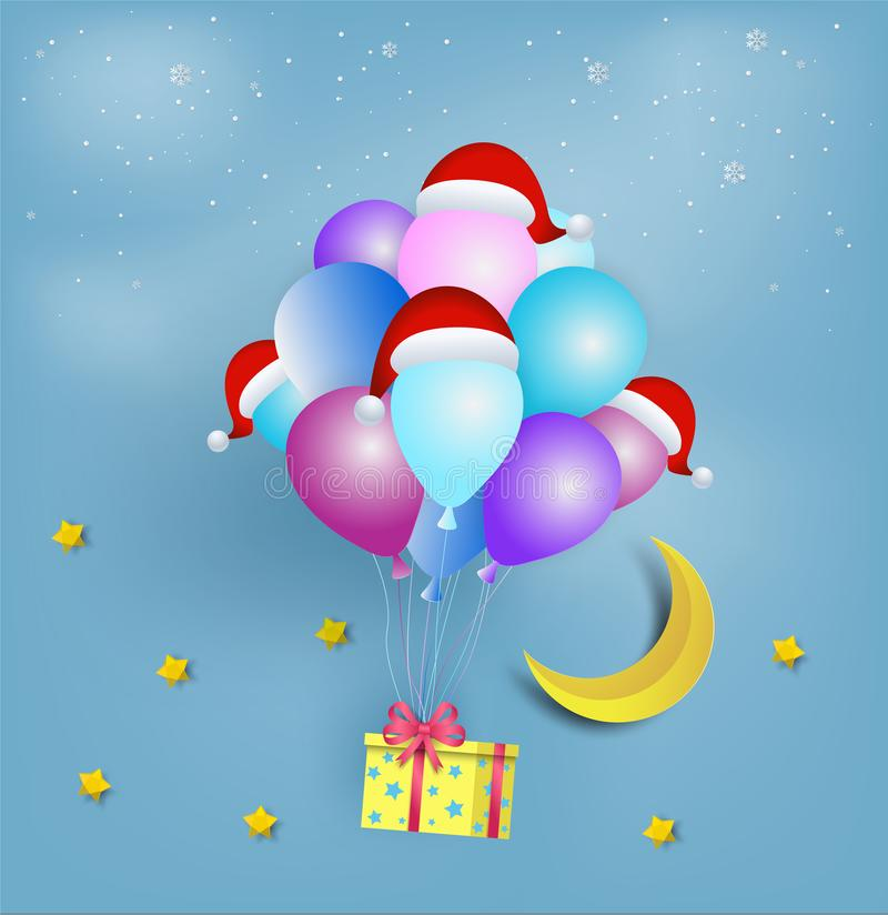 Paper art style of yellow star shape gift box with colorful ball. Oon and wearing a Santa hat floating on the sky. Merry Christmas and Happy New Year vector illustration