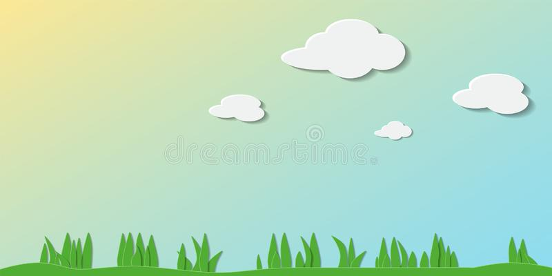 Paper art. Summer day. Paper art. Vector illustration of summer day with air clouds, green grass and yellow flowers. Can be used for wallpaper, pattern fills royalty free illustration