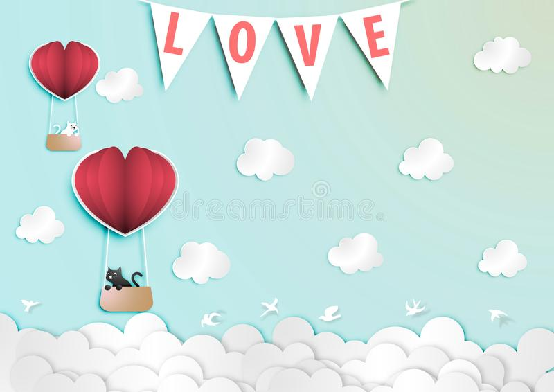 Paper art of Valentine Day Festival with Black and White Lover Cat in Paper Balloon vector vector illustration