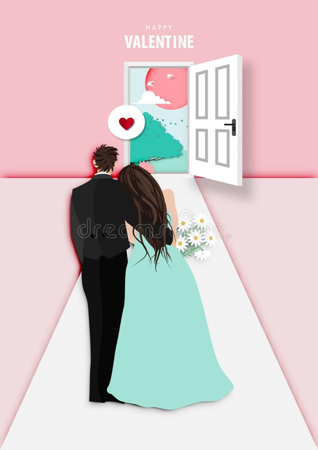 Paper art of valentine day festival with married couple looking to sunset outside vector. Paper art of valentine day festival with married couple looking to royalty free illustration