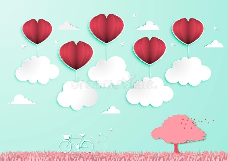 Paper art of Valentine Day Festival Background vector royalty free illustration
