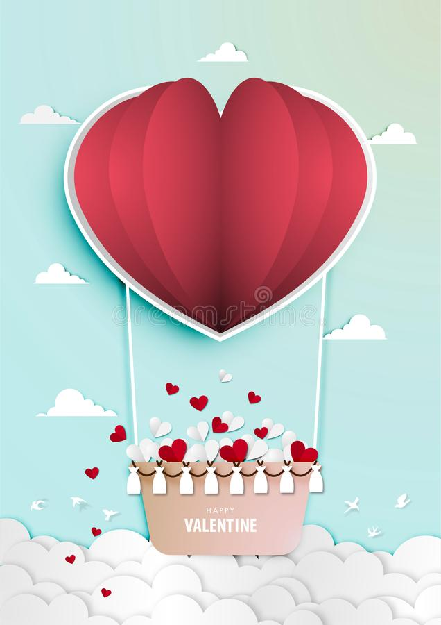 Paper art of valentine day festival with red and white paper heart in paper balloon vector vector illustration