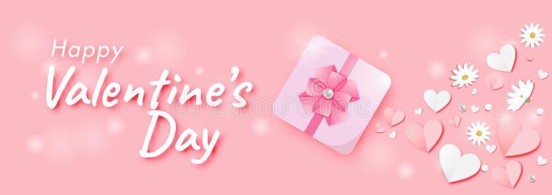 Paper art of Valentine`s day Festival Pink Pastel Background Vector stock illustration
