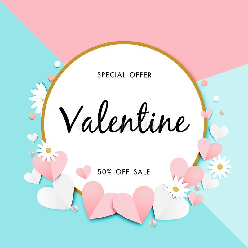 Paper art of Valentine`s day Sale Off Background Vector stock illustration