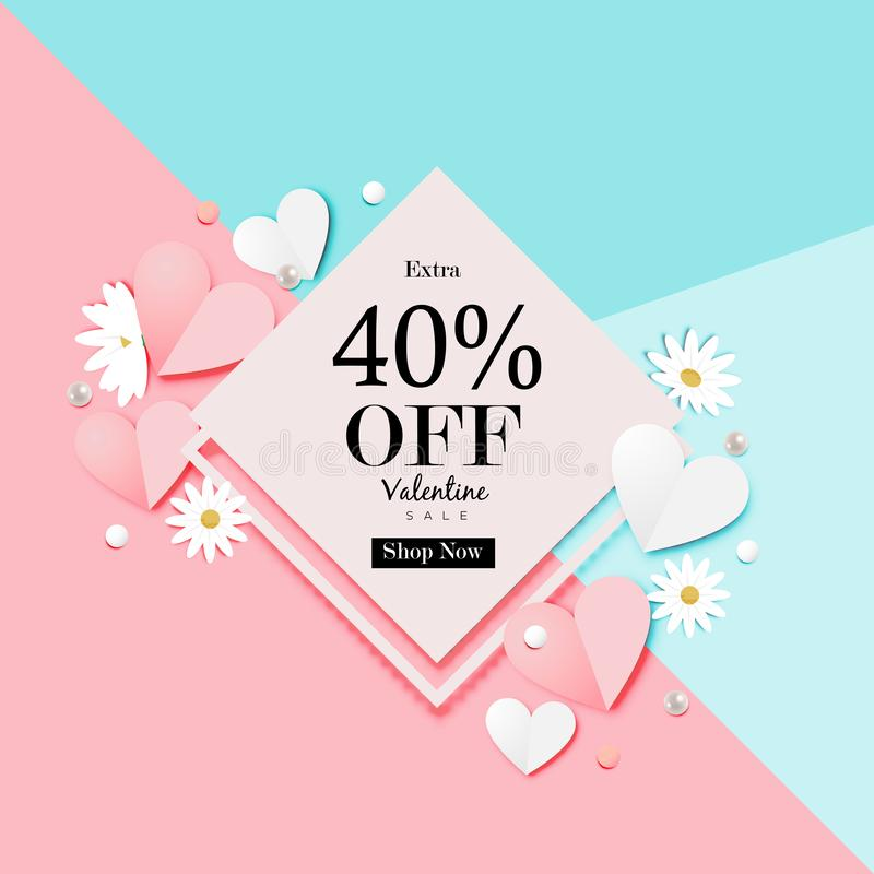 Paper art of Valentine`s day Sale Off Background Vector royalty free illustration