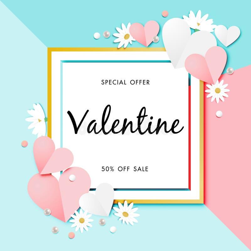 Paper art of Valentine`s day Sale Off Background Vector vector illustration