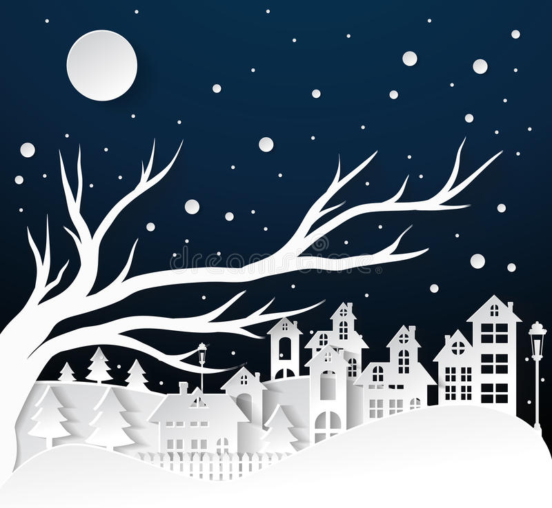 Paper art Winter Snow Urban Countryside Landscape City Village. With full moon,Happy new year and Merry christmas vector illustration