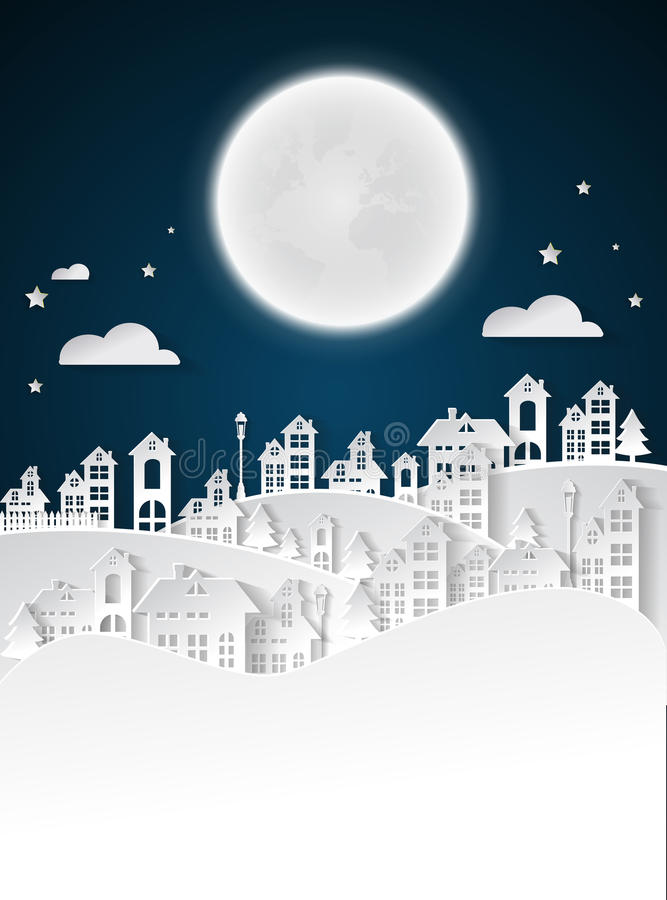 Paper art Winter Snow Urban Countryside Landscape City Village. With full moon nighttime vector illustration