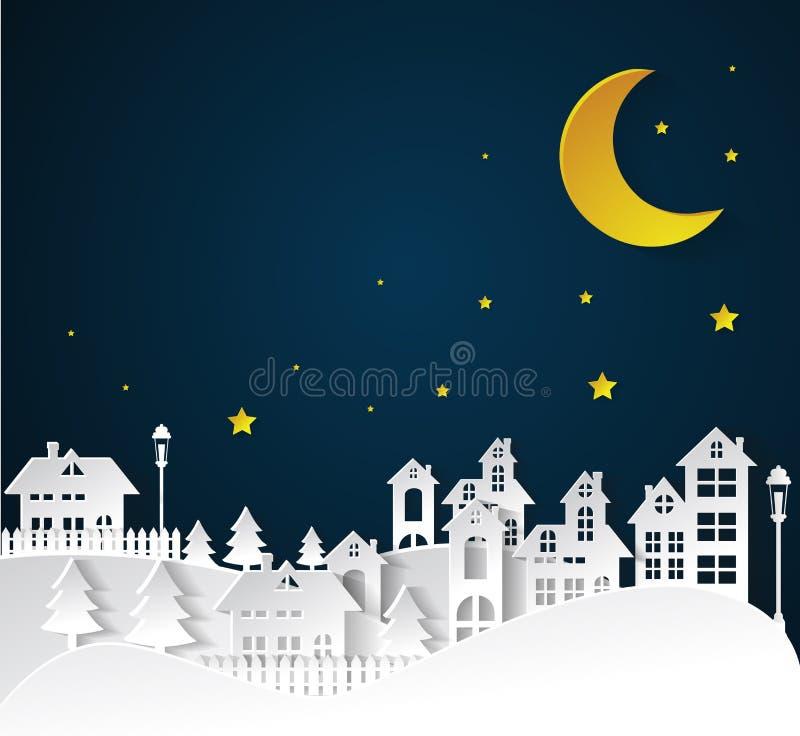 Paper art Winter Snow Urban Countryside Landscape City Village. Nighttime stock illustration