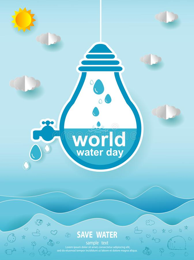 Paper art of world water day, Save water concept, Save The Water, Water conservation concept, Ecology Paper cut style vector vector illustration