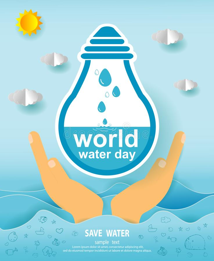 Paper art of world water day, Save water concept, Save The Water, Water conservation concept, Ecology Paper cut style vector royalty free illustration