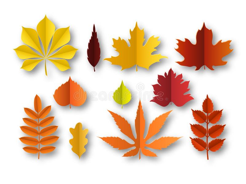 Paper autumn leaves. Beautiful fall colourful foliage. Orange, red and yellow papercut leaf decoration isolated vector. Cut season plant elements royalty free illustration