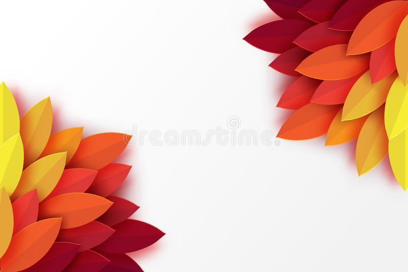 Paper autumn leaves colorful background. Trendy origami paper cut. Style vector illustration vector illustration
