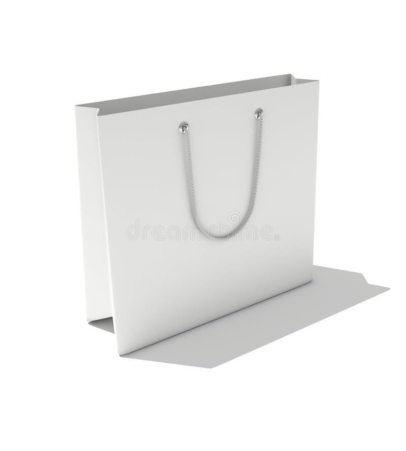 Paper bag. 3d render of isolated white paper bag stock illustration