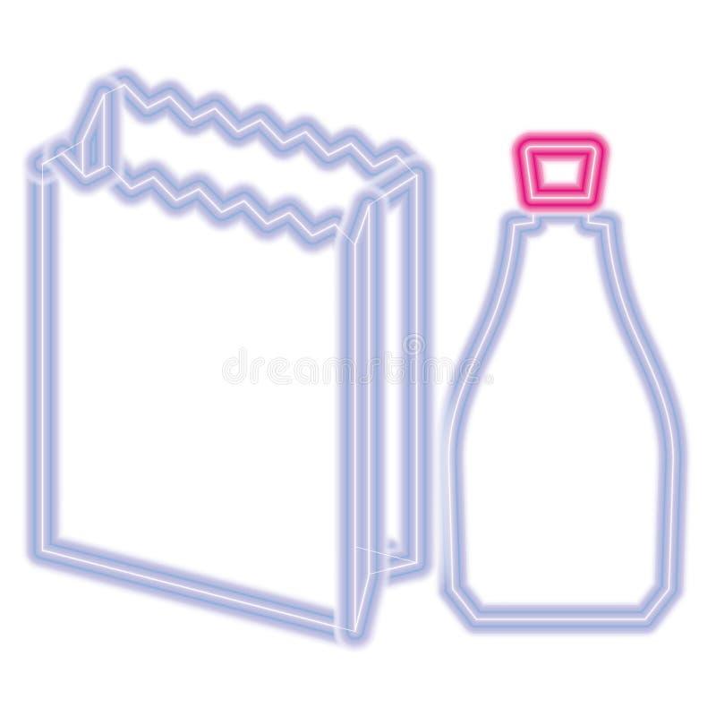 Paper bag and bottle design. Paper bag and bottle over white background, vector illustration royalty free illustration