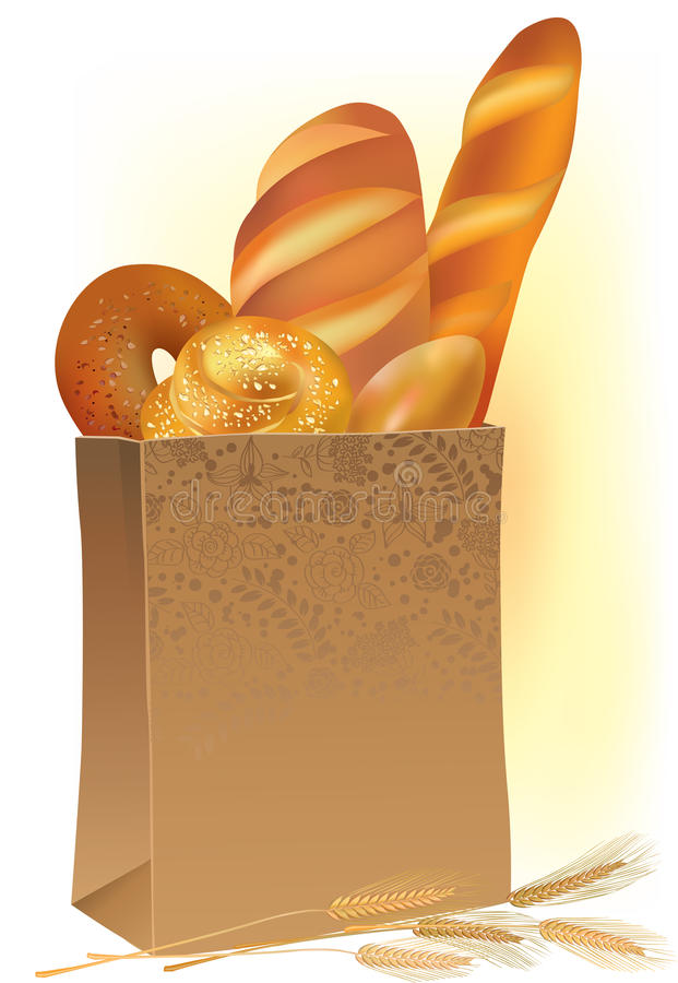 Paper bag with bread stock illustration