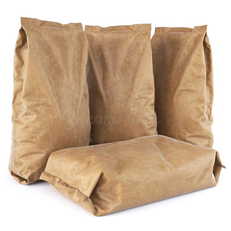Paper bag. Brown paper bags. on white background. 3D illustration royalty free illustration