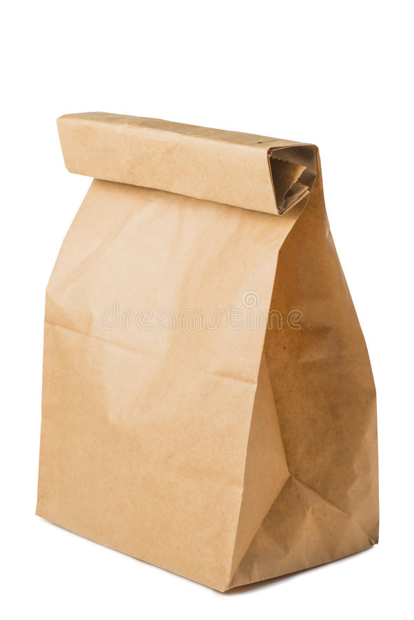 Paper bag of brown color. Isolated royalty free stock photography