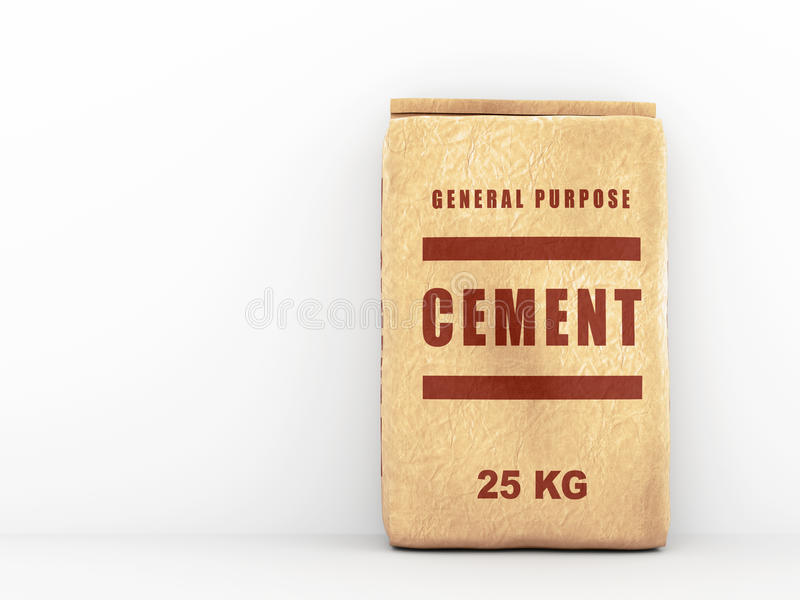 Paper bag of cement stock illustration