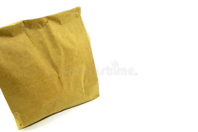 Paper bag clean environmental universal for different goods on white background. The photo shows one object - a universal container for different goods and royalty free stock photography