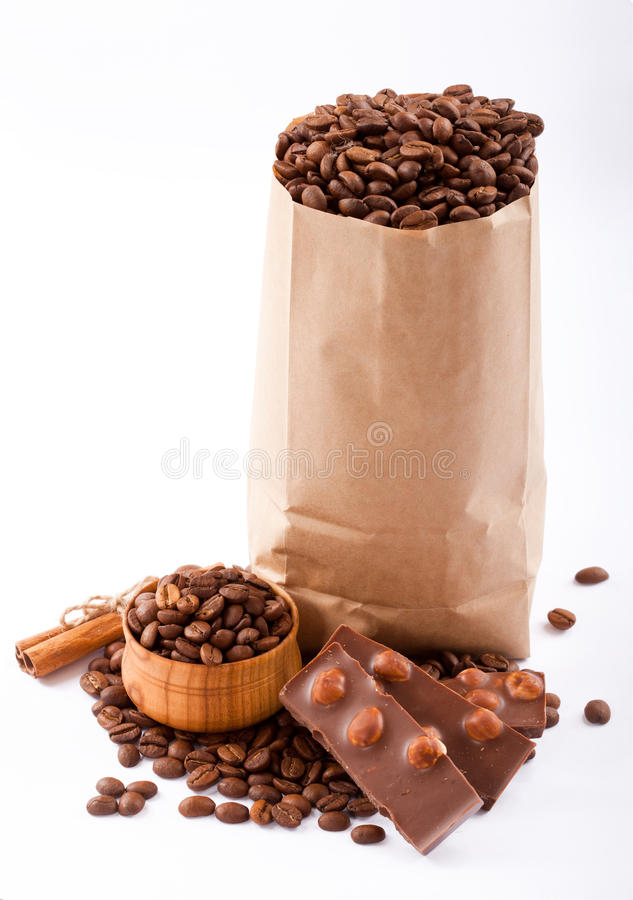 Download Paper Bag With Coffee Beans And Chocolate. Stock Image - Image: 28820633