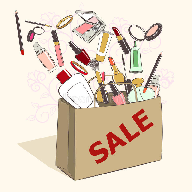 Paper bag with cosmetic products for makeup on sale. Drawing vector illustration stock illustration