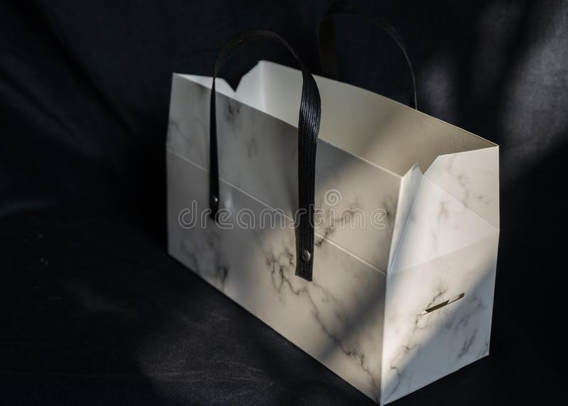 A paper bag in dark background royalty free stock images