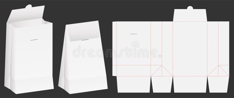 Paper bag die cut mock up template vector. A paper bag die cut mock up template vector vector illustration