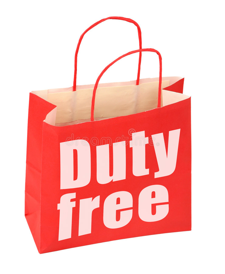 Paper bag with duty free sign. Red paper bag with duty free sign on white, photo does not infringe any copyright royalty free stock photography