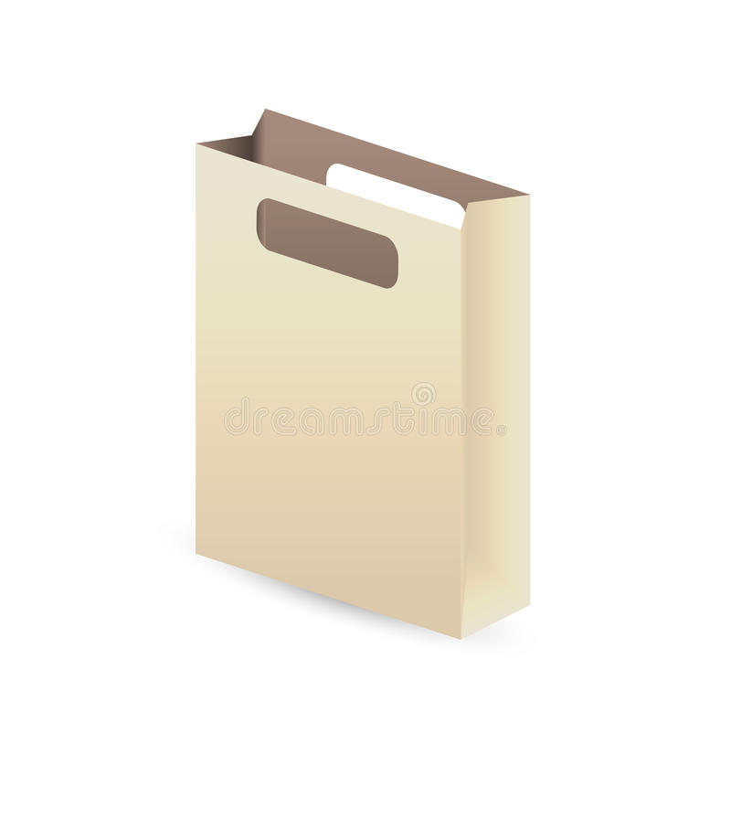 Paper bag. Empty paper bag with shadow on white background vector illustration