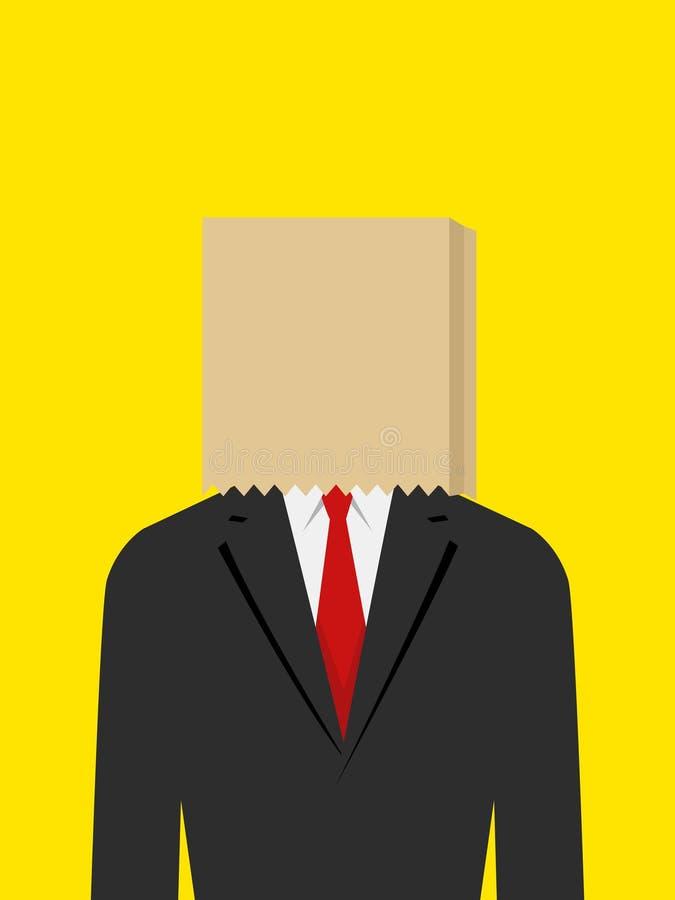 Paper Bag Face Businessman royalty free illustration
