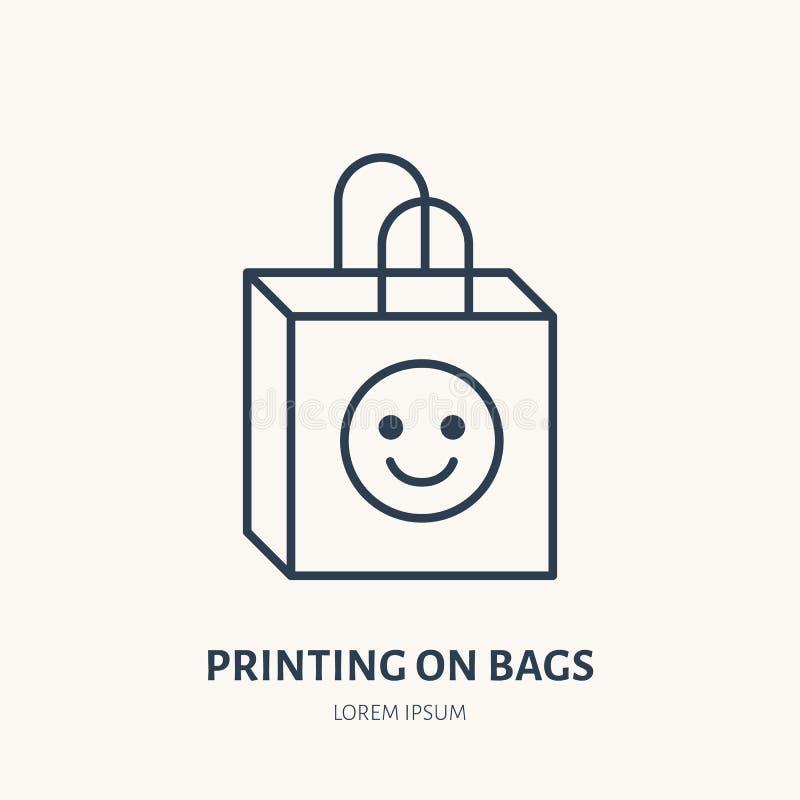 Paper bag flat line icon. Branding package sign. Thin linear logo for printery, design studio vector illustration