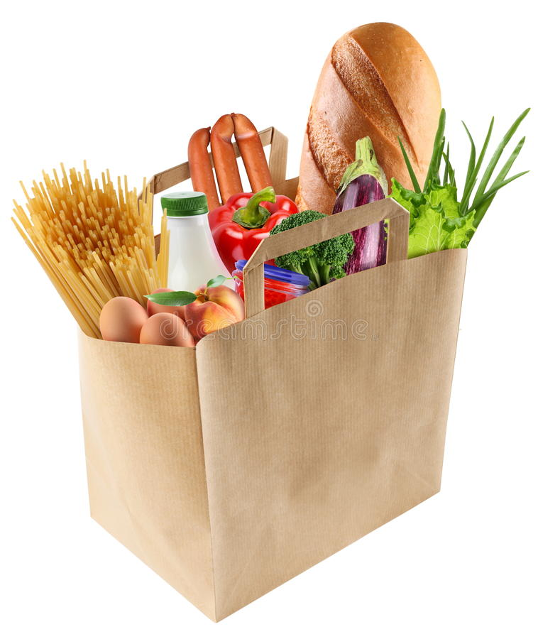 Paper bag with food. On a white background royalty free stock photo