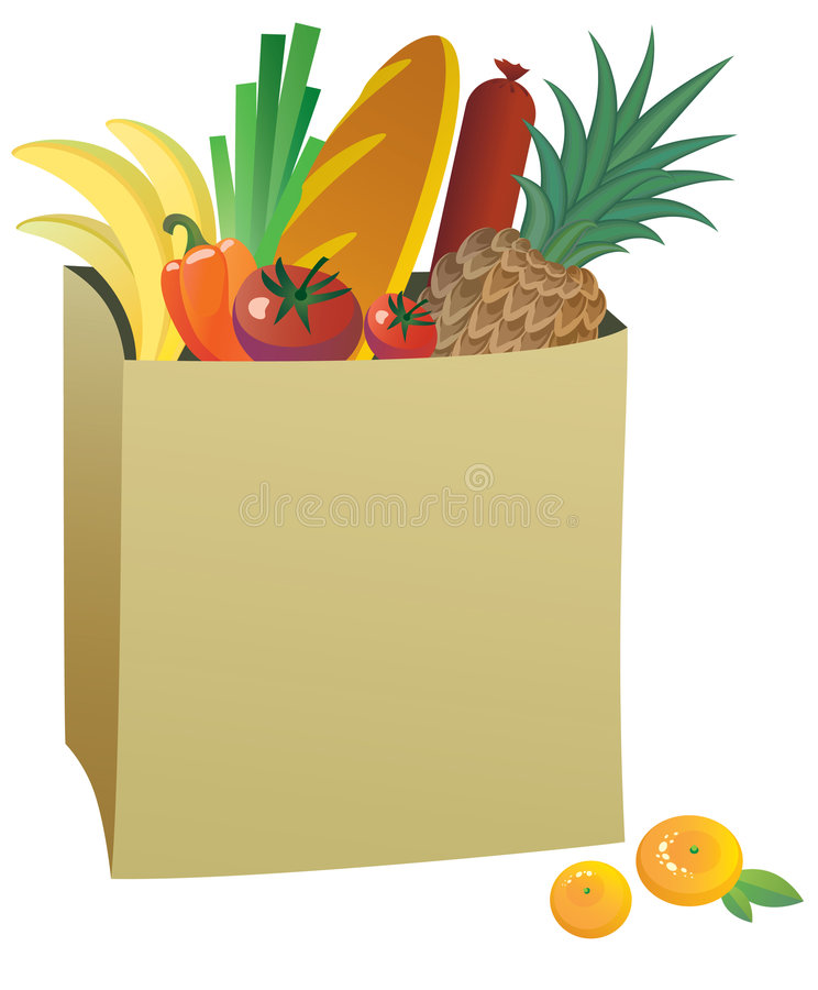 Download Paper bag with food stock vector. Image of healthy, basket - 7706336