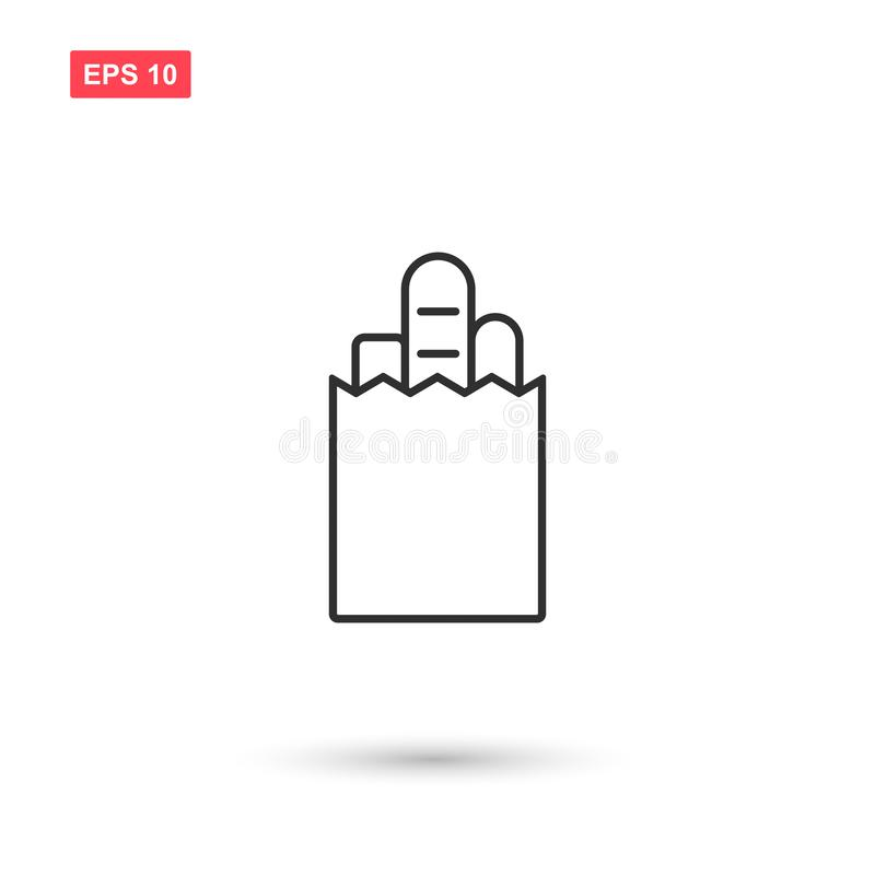 Paper bag food icon vector isolated 2. Eps10 royalty free illustration