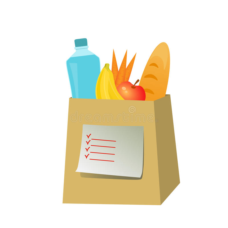 Paper bag with fresh food stock image