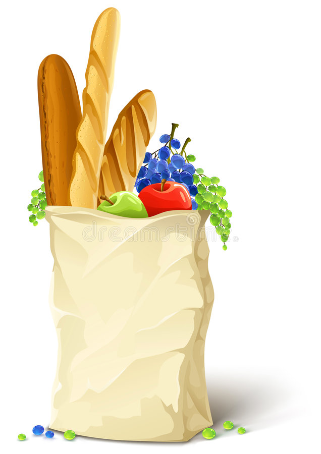 Paper bag with fresh food bread and fruits. Illustration vector illustration