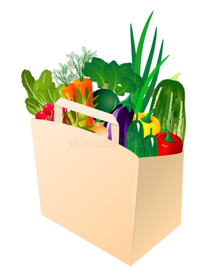 Download Paper Bag With Fresh Vegetables Stock Vector - Illustration of leaf, pepper: 20488086