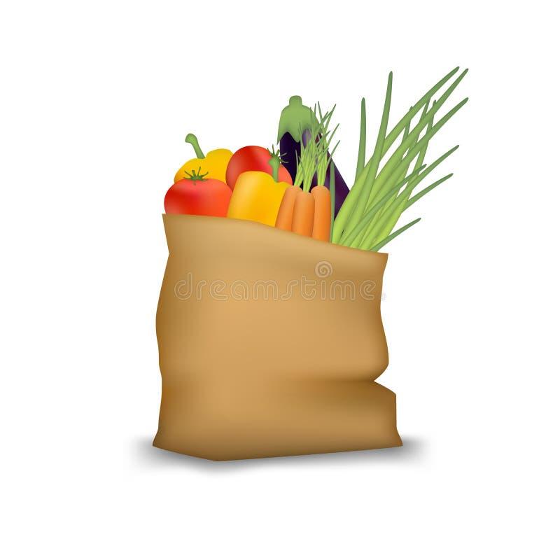 Paper bag with fresh vegetables. Vegetarian natural healthy food. stock images
