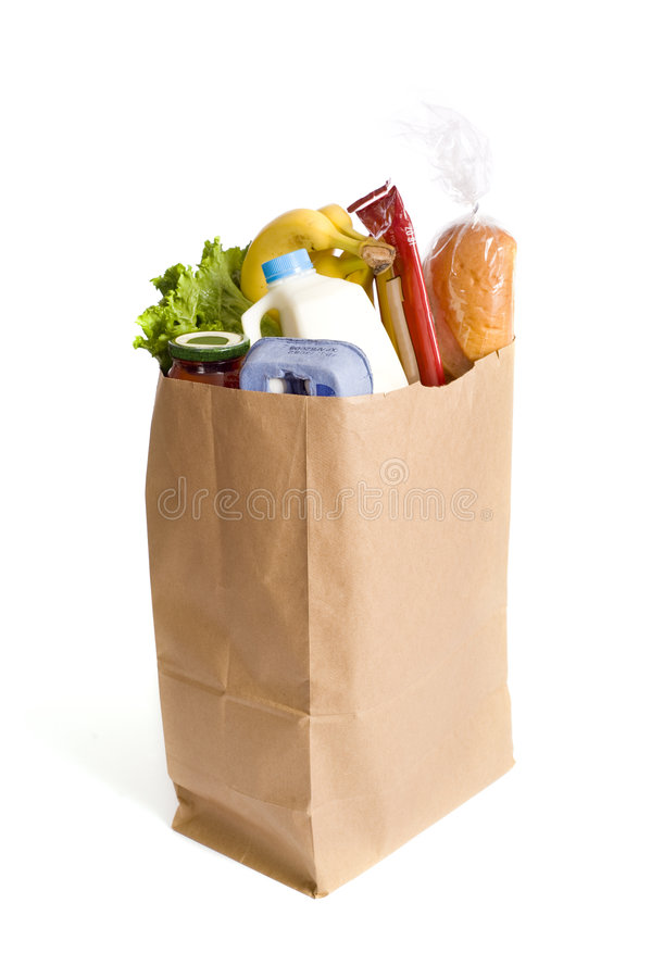 Paper Bag Full Of Groceries Stock Photo - Image of objects ...