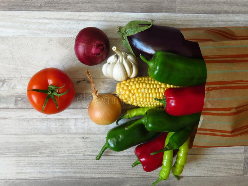 Paper bag full of juicy organic green red peppers, red tomato, purple eggplant, yellow onion, white garlic and maize. Summer. stock image