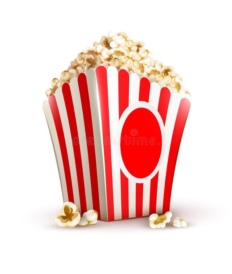 Paper bag full of popcorn royalty free illustration